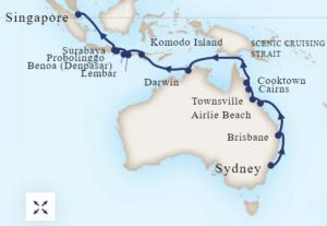 Asia and Indonesia cruise map  - Australia and Indonesia Explorer